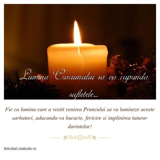 Poza felicitare Lumina Craciunului sa va cuprinda sufletele...