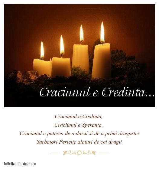 Poza felicitare Craciunul e Credinta...