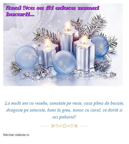 Anul Nou sa iti aduca numai bucurii...