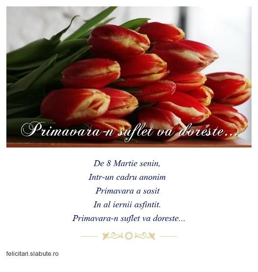 Poza felicitare Primavara-n suflet va doreste...