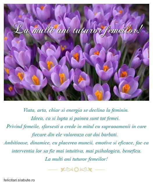 Poza felicitare La multi ani tuturor femeilor!