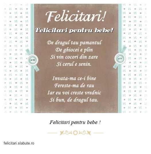 Felicitari pentru bebe!