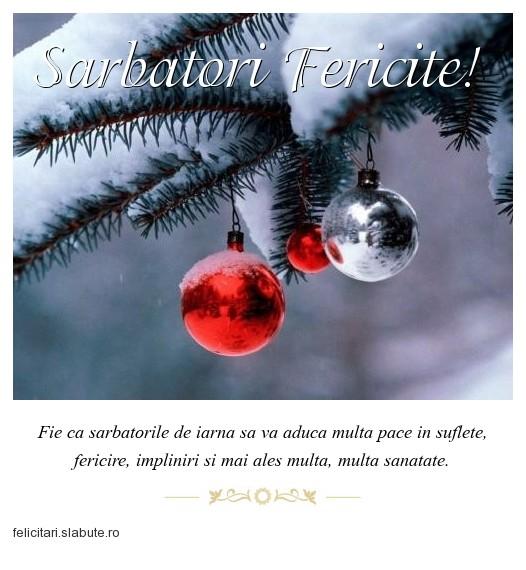 Poza felicitare Sarbatori Fericite!