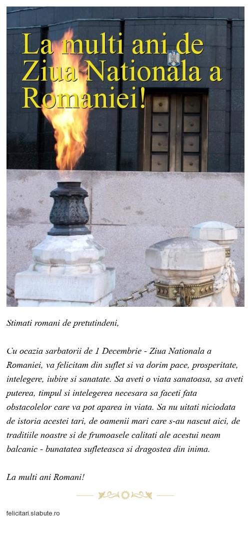 Poza felicitare La multi ani de Ziua Nationala a Romaniei!