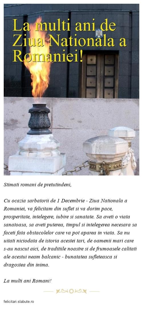 La multi ani de Ziua Nationala a Romaniei!