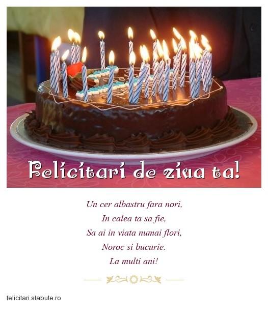 Poza felicitare Felicitari de ziua ta!