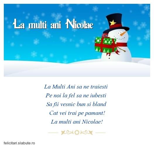 Poza felicitare La multi ani Nicolae