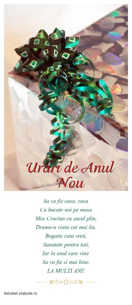 Poza felicitare Urari de Anul Nou