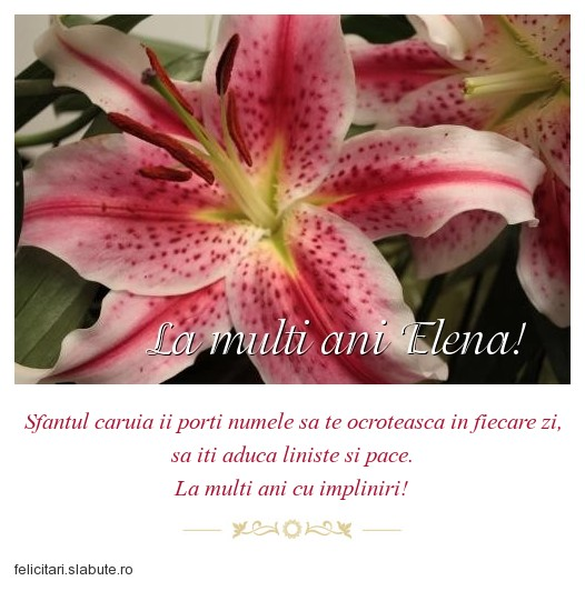 Poza felicitare La multi ani Elena!