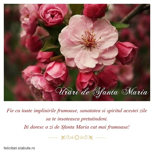 Urari de Sfanta Maria
