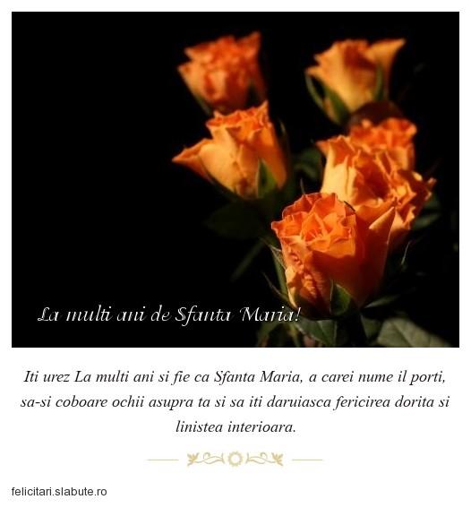 Poza felicitare La multi ani de Sfanta Maria!