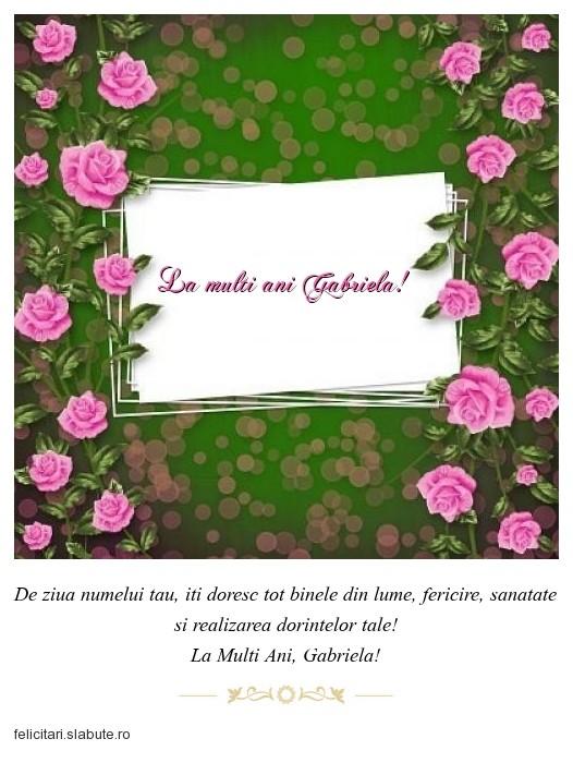 Poza felicitare La multi ani Gabriela!