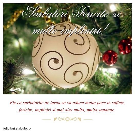 Poza felicitare Sarbatori Fericite si multe impliniri!