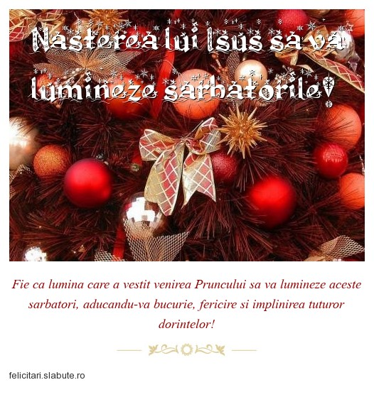 Poza felicitare Nasterea lui Isus sa va lumineze sarbatorile!